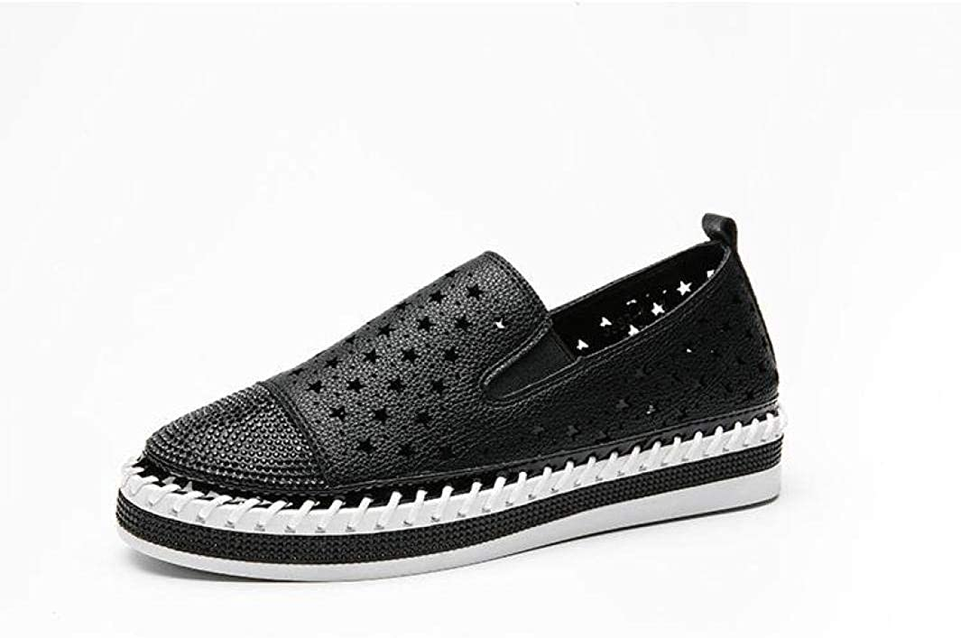 DOSOMI Women's Preforated Slip On Sneakers Crystal Fashion Espadrilles Comfortable Round Toe Loafers