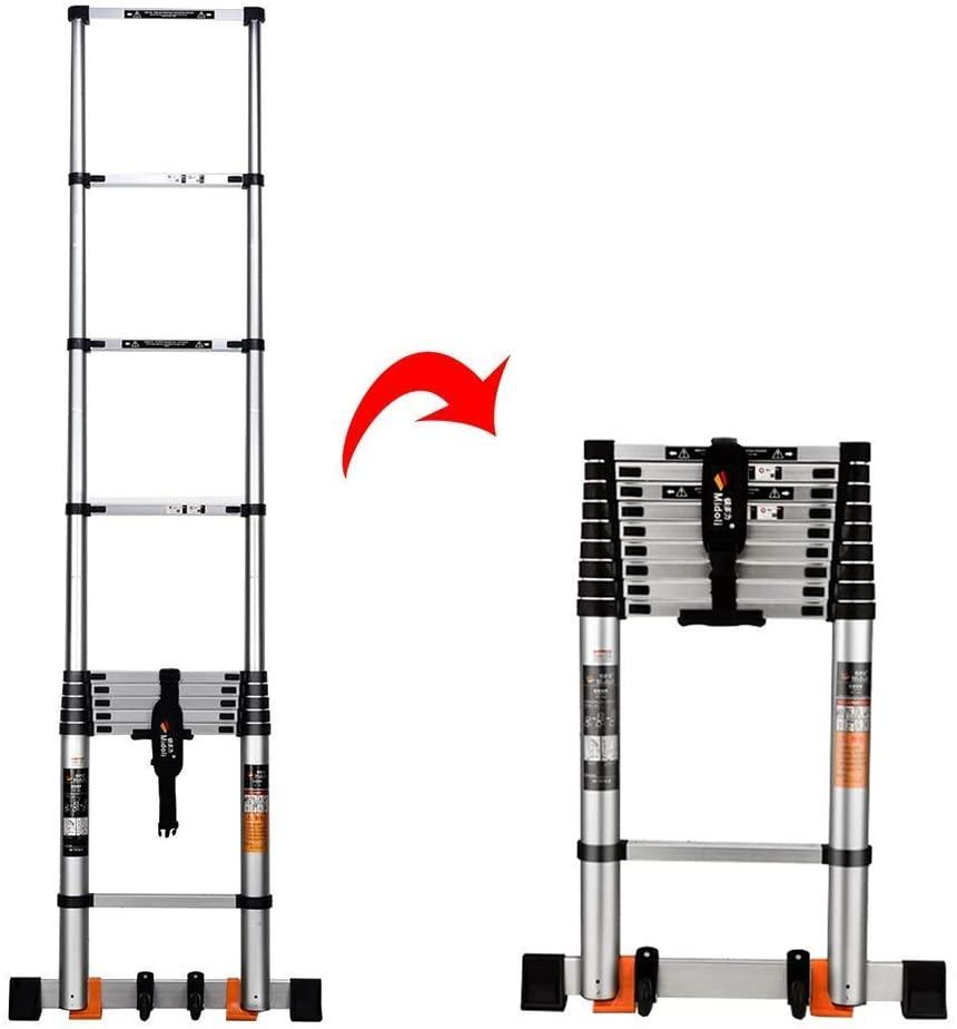 LADDERS Ladder Telescopic Ladders,Heavy Duty Atelescoping Straight Ladder, Multi Purpose Engineering Telescopic Extension Ladder for Loft, 330Lbs Capacity,5.9M/19.4Ft