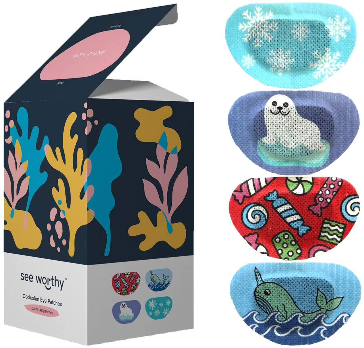 See Worthy Winter Eye Patches, Innovative Shape, Smart Adhesive Technology, Breathable Material and Fun Designs, (48 per Box) (Regular Size)