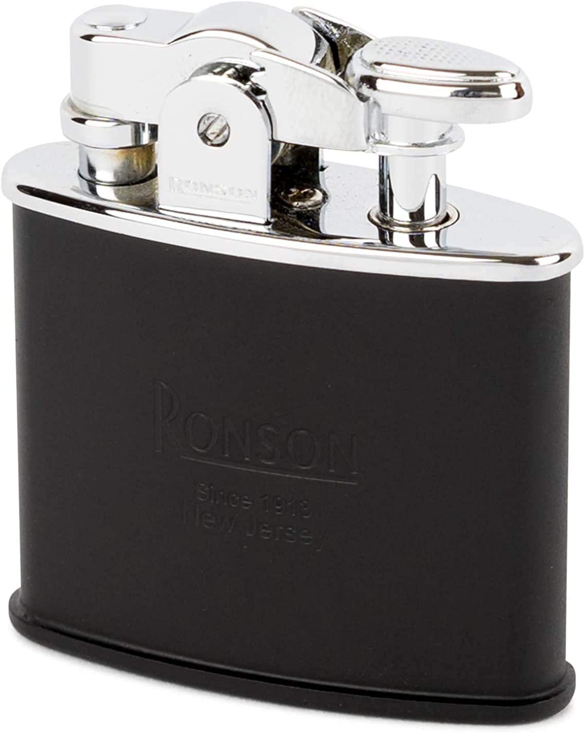 Ronson Nostalgia Standard Black Matt Soft Flame Petrol Lighter New Gift Boxed