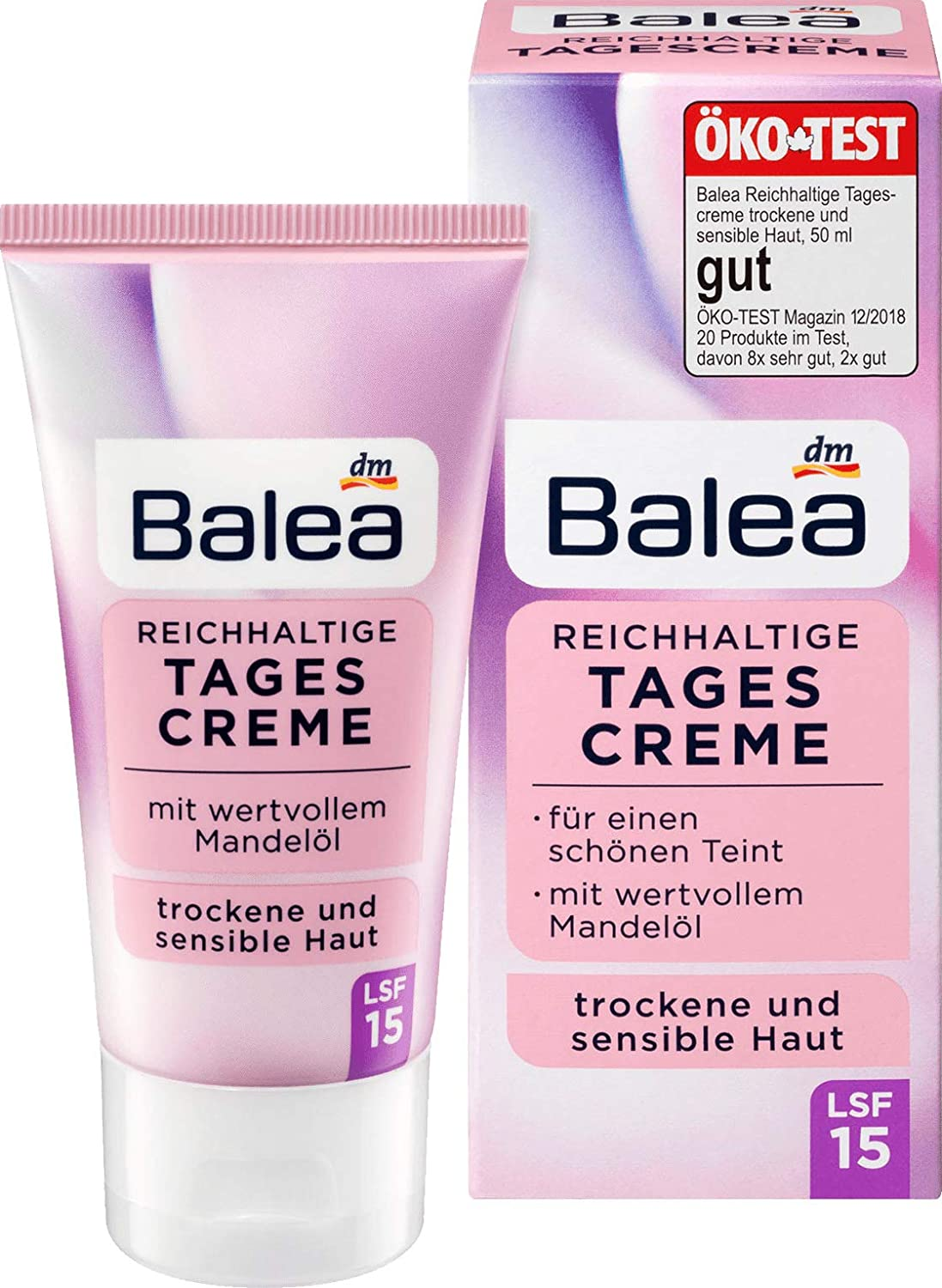 Balea Extensive Day Cream With Precious Almond Oil - Sun Protection Factor 15 I 1 x 50ml, Germany