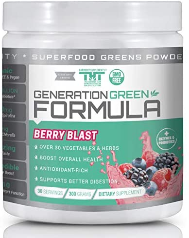 Generation Greens Powder | Organic Superfood Powder with Spirulina, Chlorella, Wheat Grass | 60 Powerful Super Foods, Probiotics, Enzymes | GMO Free (30 Serving, Berry Blast)