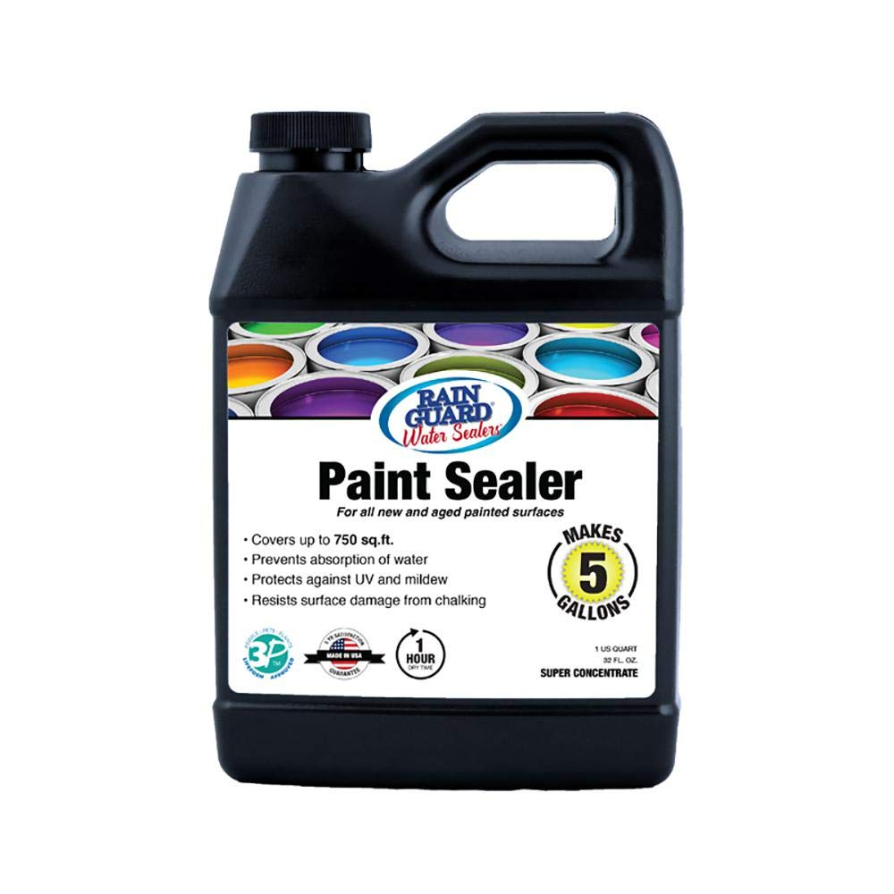 Rain Guard Water Sealers SP-9003 Paint Sealer Super Concentrate - Water Repellent for Painted Wood, Brick, Concrete, Stucco, and Masonry - Covers up to 750 Sq. Ft, 32 oz Makes 5 gallons, Clear