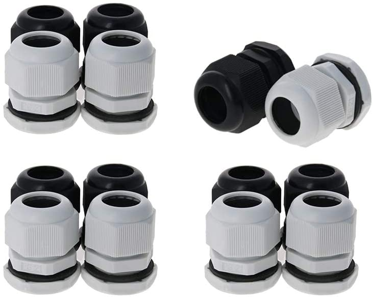 Fielect PG21 Waterproof Cable Gland Corrugated Tube Cable Joint Adjustable Locknut Pipe Clamps Wire Black White Plastic 14Pcs