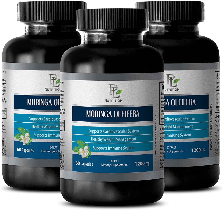 Immune System Pills - Moringa OLEIFERA Extract 1200 MG - Moringa Natural - 3 Bottle 180 Capsules