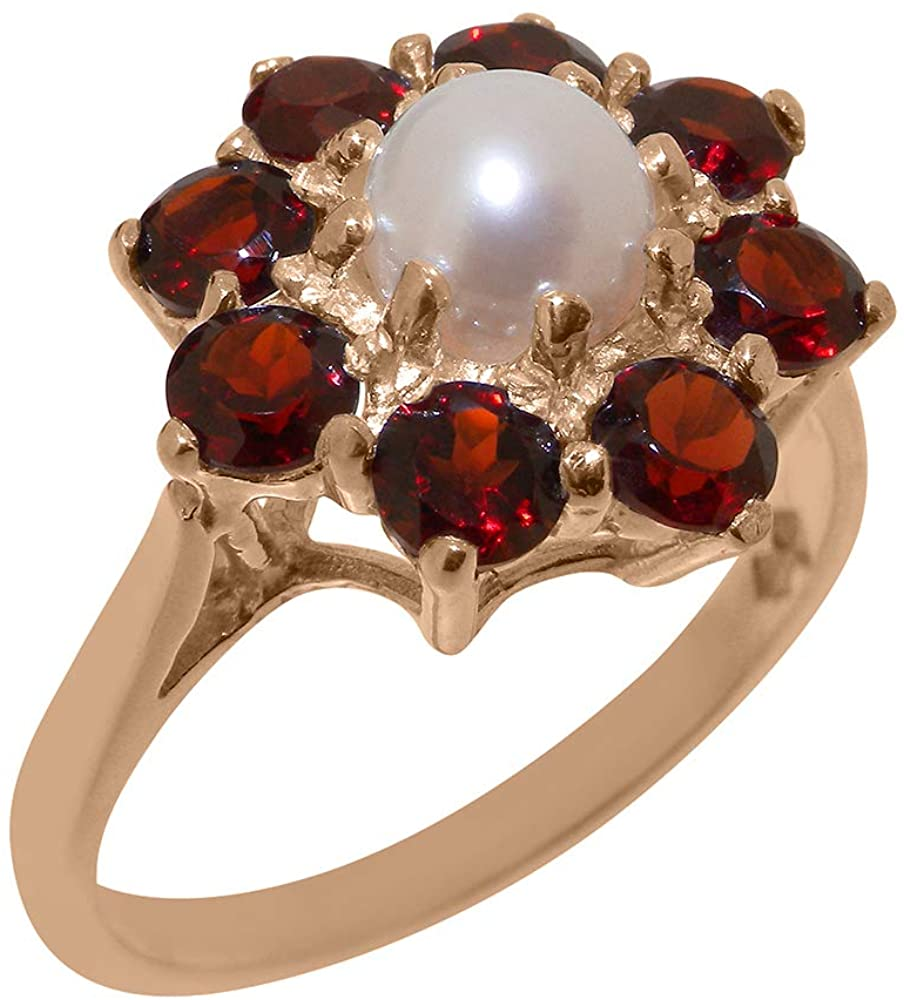 Solid 9k Rose Gold Cultured Pearl & Garnet Womens Cluster Ring - Sizes 4 to 12 Available