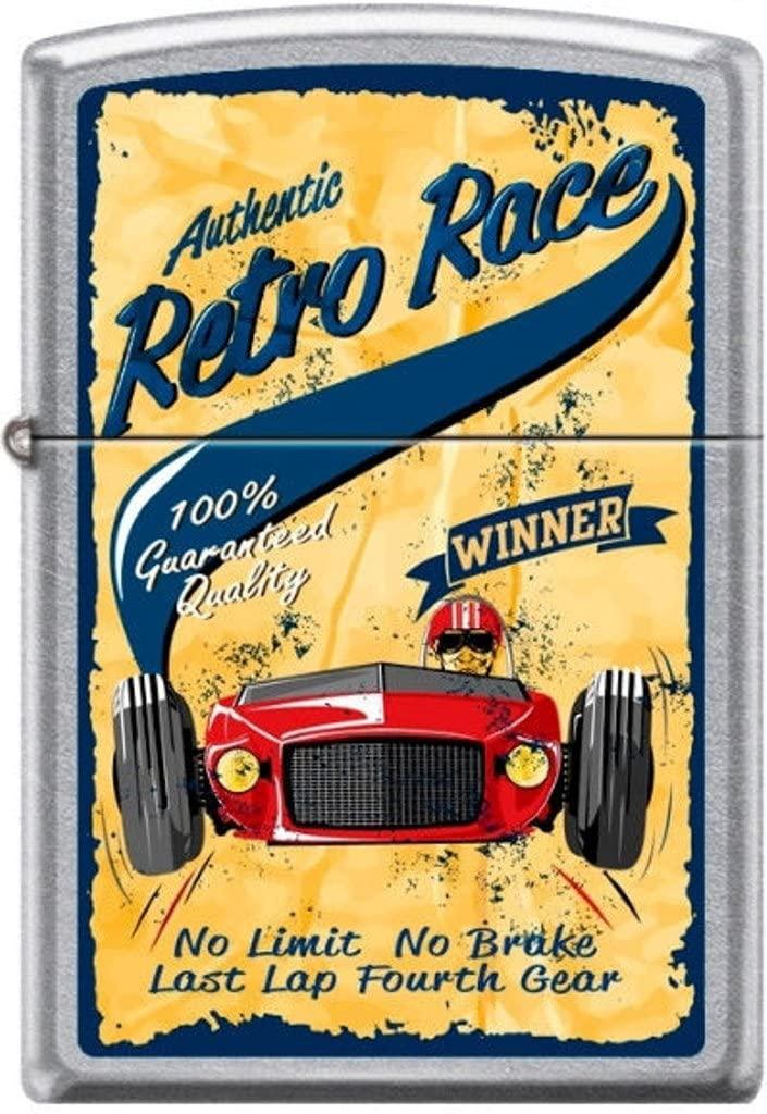 Zippo Authentic Retro Race No Limit No Brake Last Lap Fourth Gear Poster Lighter