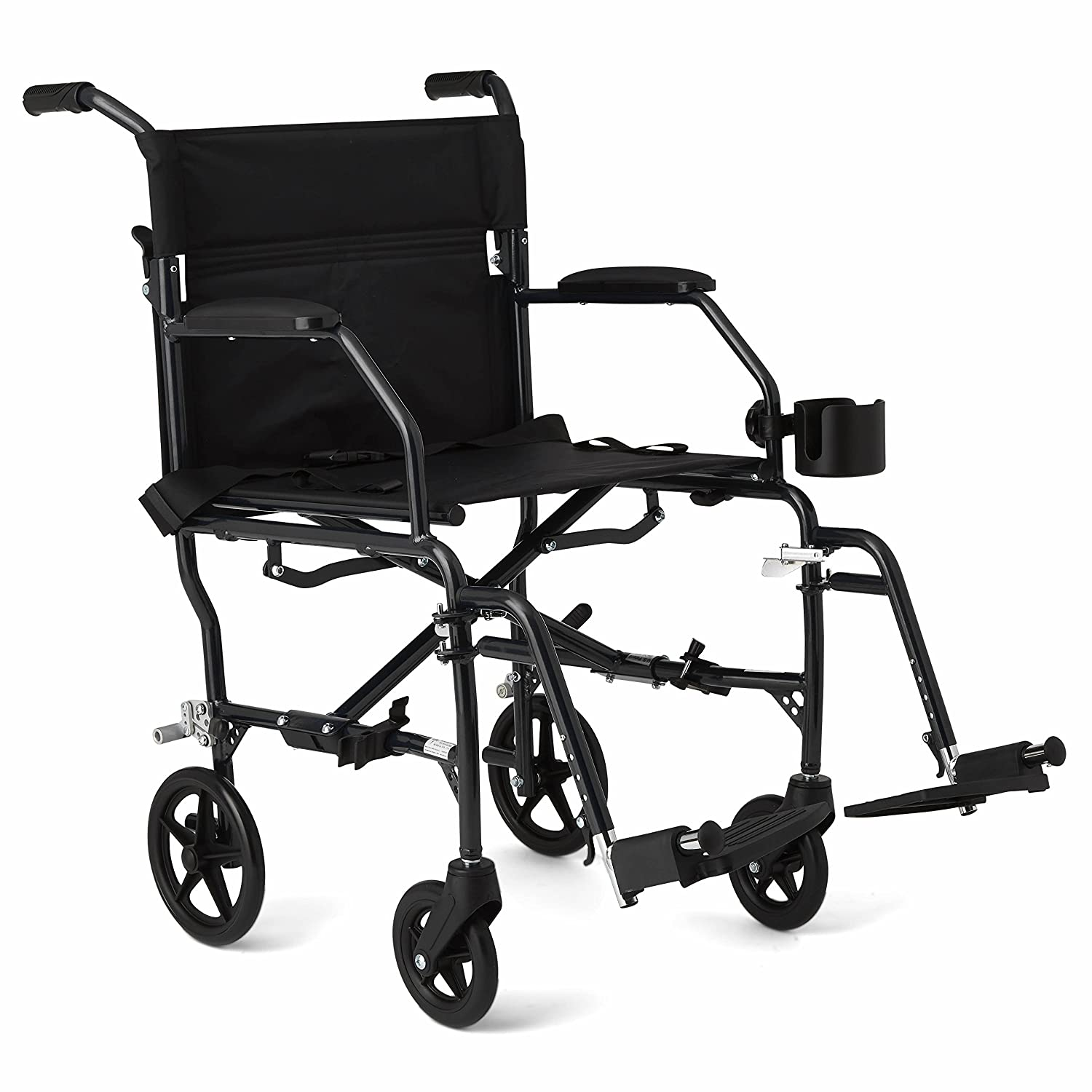 """Medline Ultralight Transport Wheelchair with 19"""" Wide Seat, Folding Transport Chair with Permanent Desk-Length Arms, Black Frame"""