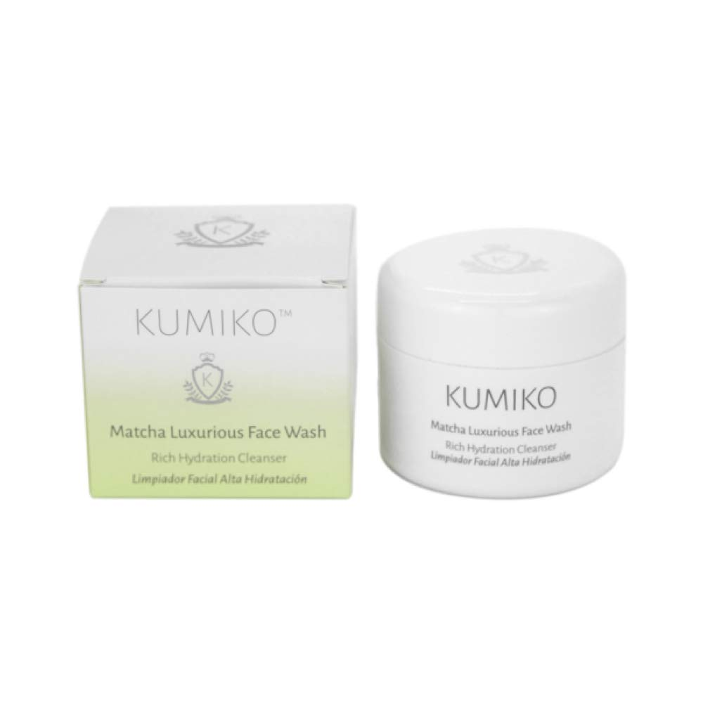 KUMIKO Matcha Luxurious Face Wash – Purifying Face Cleanser – Rich Face Wash for dehydrated Skin - Natural Face Wash with Matcha Tea, Almond Oil, Sunflower Oil and Cocoa Butter – Hydrating Cleanser