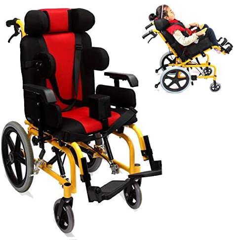 OMLTER Kids Pediatric Wheelchair, Detachable Guardrail,Freely Adjustable Height, Elevating Leg Rests, Yellow Frame is Great for Children