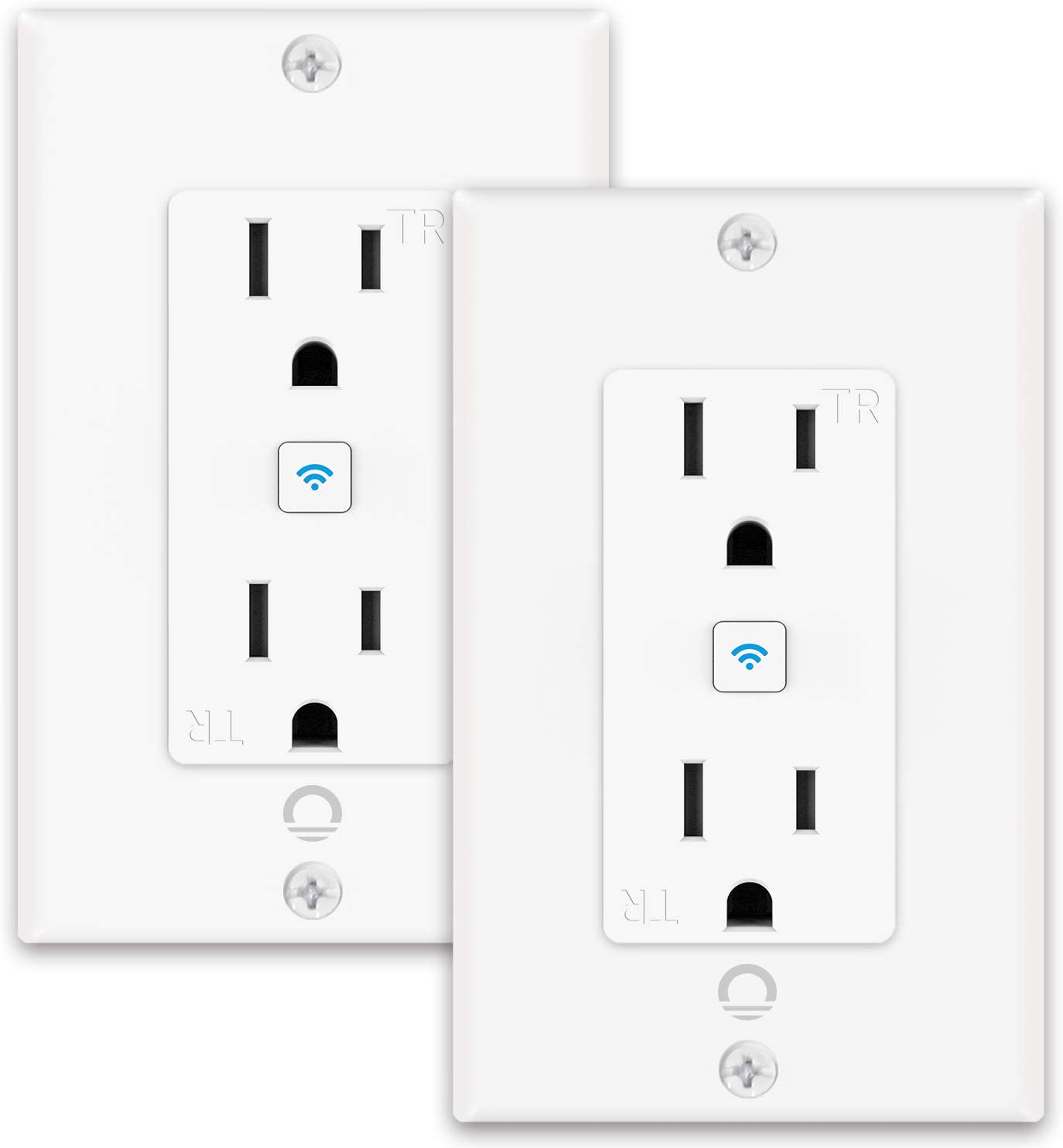 Lumary Smart WiFi In-Wall Outlet 15 Amp 125 Volt Tamper Resistant Split Duplex Receptacle, Separate Control of 2 Plugs, Compatible with Alexa, Google Home (No Hub required)