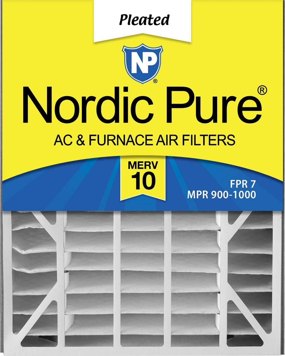 Nordic Pure 20x25x5 (4 7/8) MERV 10 Pleated AC Furnace Air Filters, 2 Pack