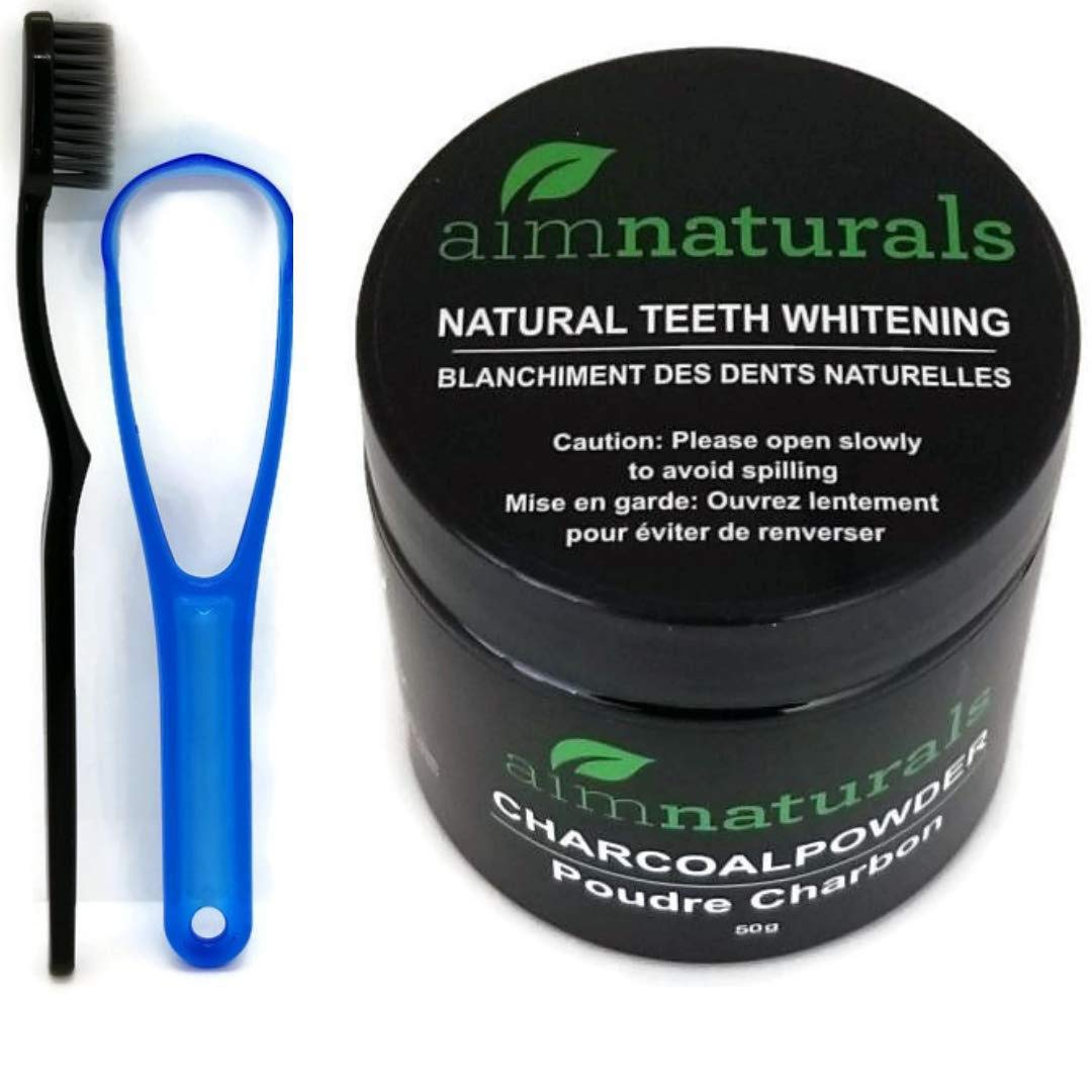 Natural Teeth Whitening Activated Charcoal Powder 50 grams Plus Toothbrush, Tongue cleaner