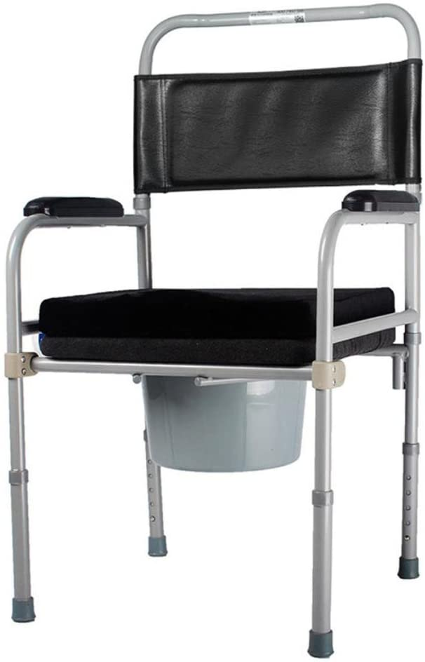 LUCKYYAN Medical Steel Leather Folding Commode Chair Raised Toilet Seat with Bucket & Anti-Hemorrhoids Cushion/Adjustable Height Mobility Disability Aid Bathroom