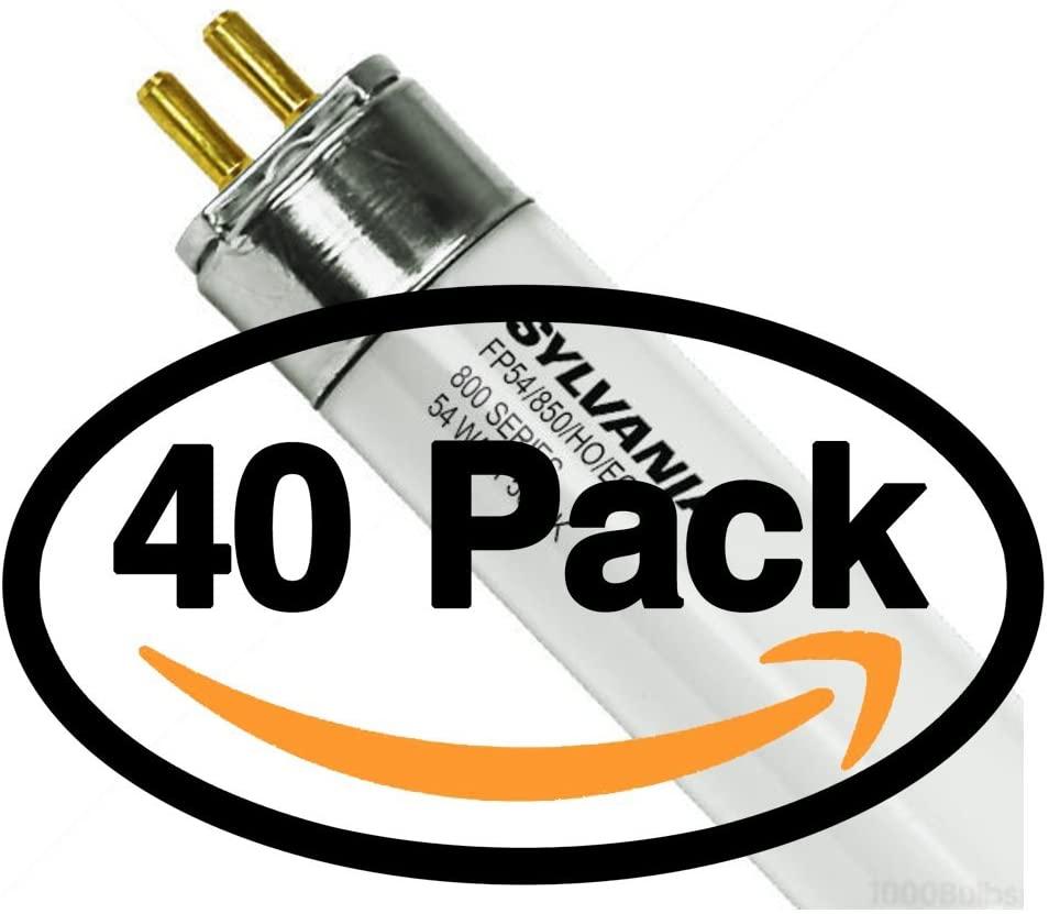 Sylvania FP54/850/HO/ECO (40 Pack) 54 Watt T5 HO High Output Fluorescent Tube Light Bulb 54W F54T5-5000K Replaces F54T5/850/HO/ALTO, F54W/T5/850/ECO, F54T5HO/850, F54/T5/850/HO, FL54/T5/850/HO