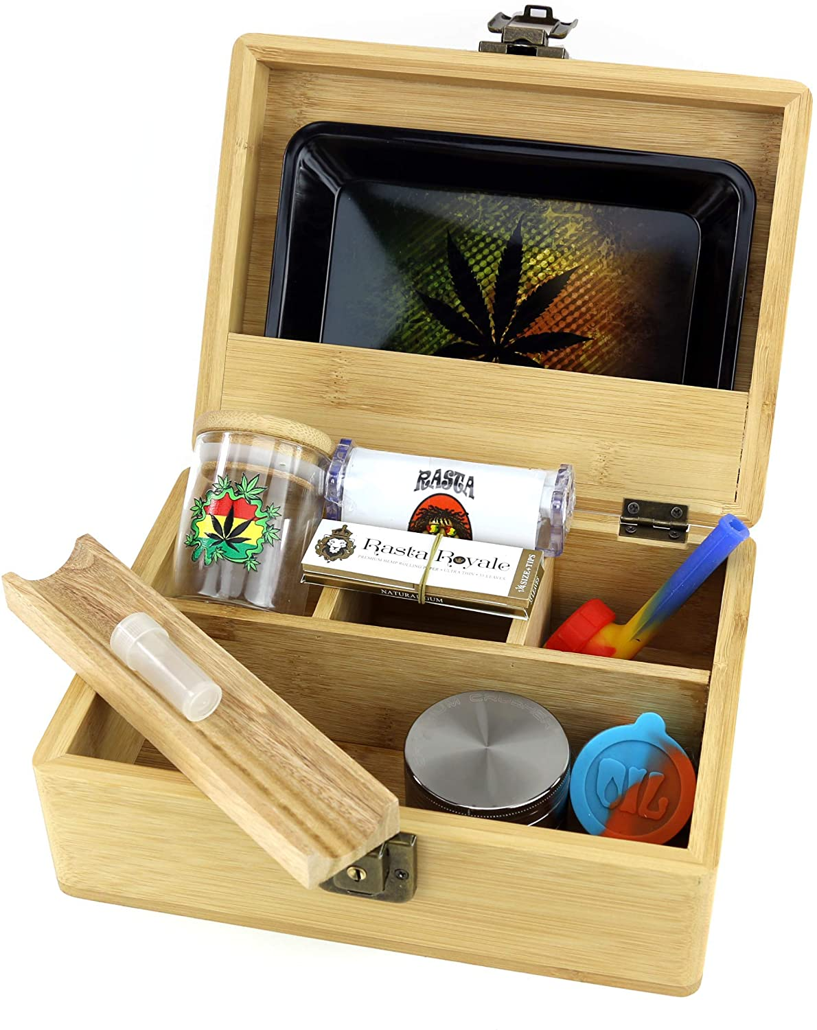 GStar NeverXhale Premium Bamboo Stash Box Combo Kit with Premium Accessories: Grinder, Rolling Paper, Cigarette Roller & More