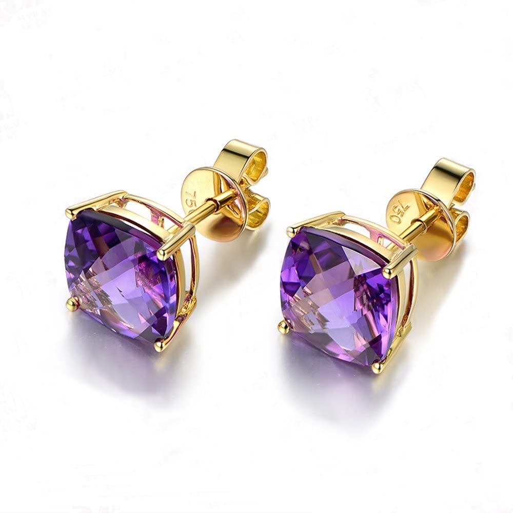 5.5ct Natural Cushion Cut Purple Amethyst Solid 14k Yellow Gold Stud Earrings Solitaire