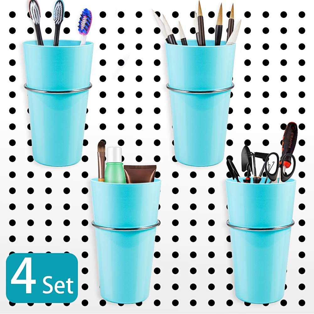 4 Sets Pegboard Hooks with Cups, Amytalk Pegboard Bins with Rings, Pegboard Cup Holder Accessories for Organizing (Blue)