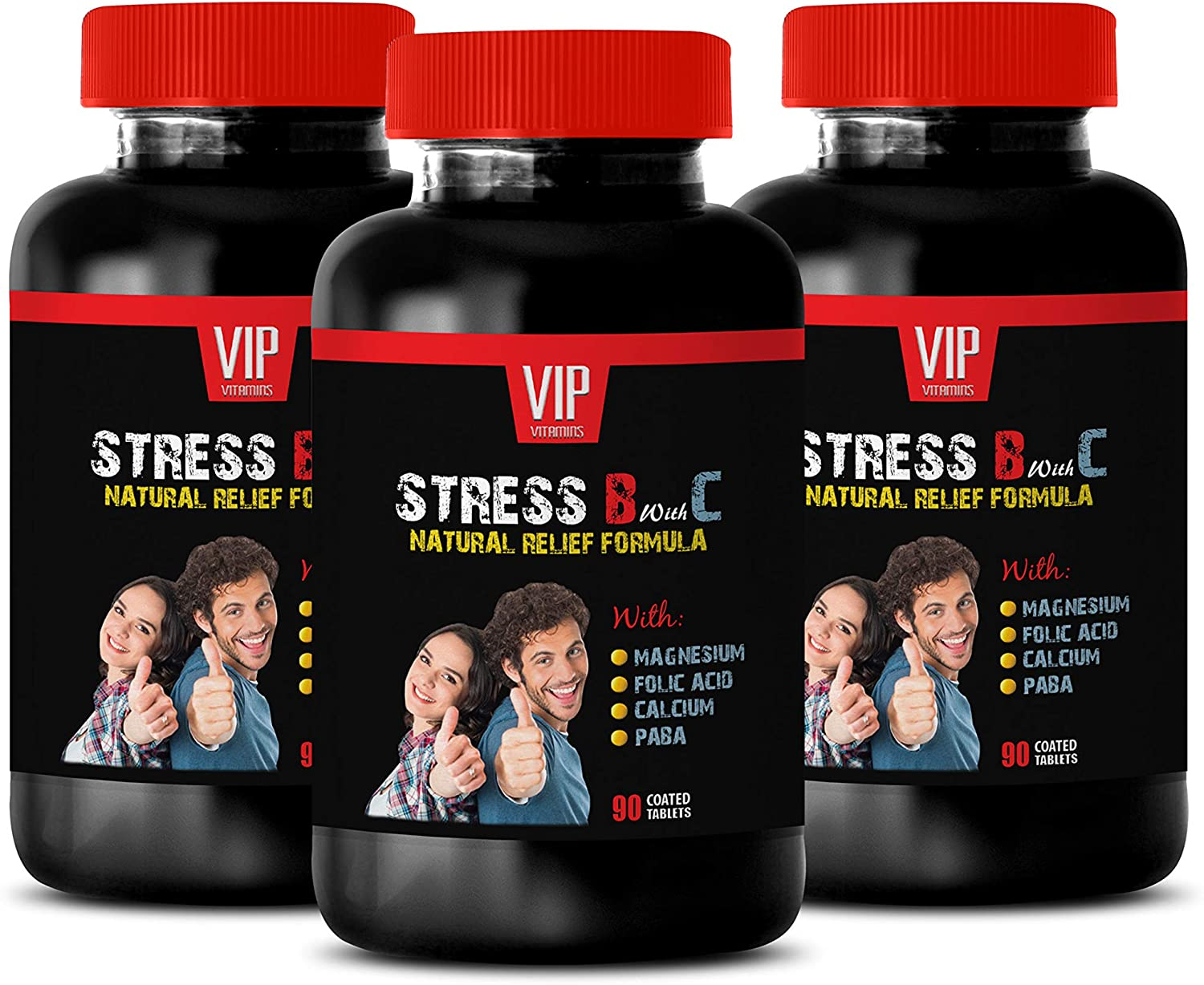 Stress Management - Stress B and C Vitamin Complex - Anxiety Relief - Mood Lifter - Natural - Valerian Root Extract Capsules - 3 Bottles (270 Tablets)