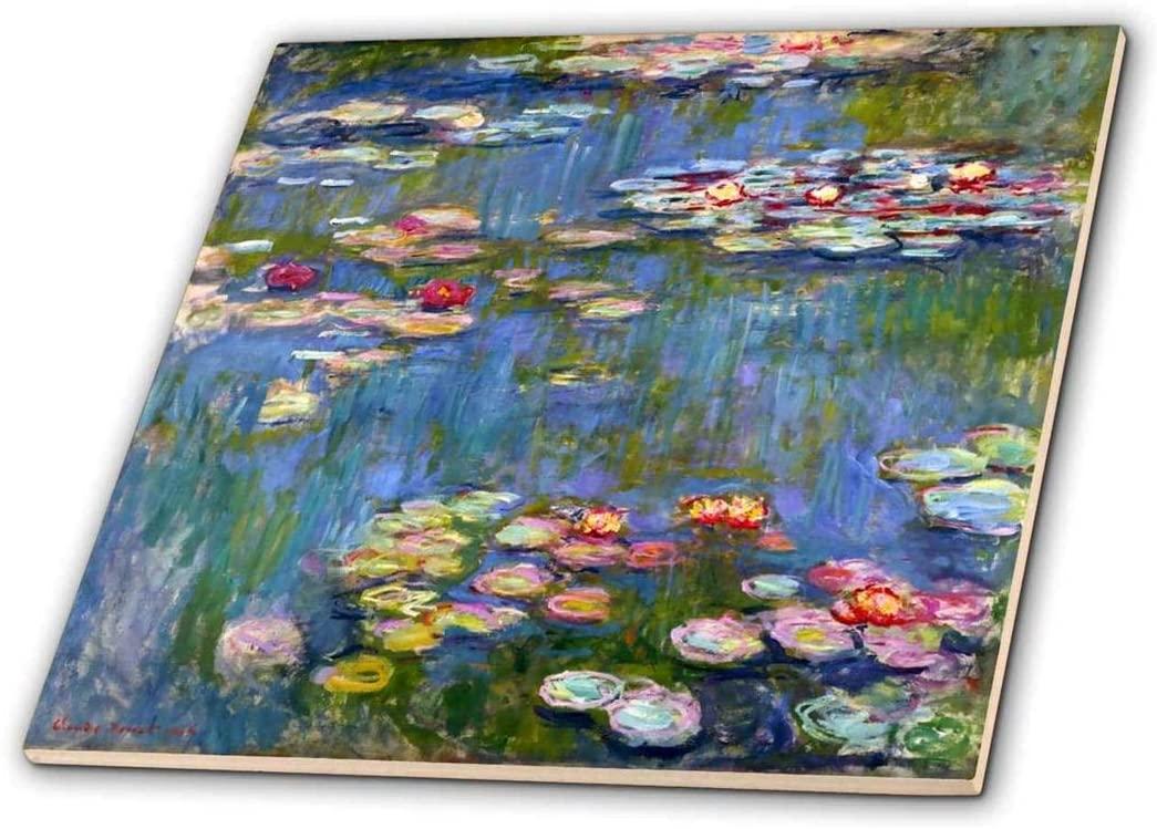 3dRose ct_155655_7 Water Lilies by Claude Monet Impressionism Impressionist Waterlilies on Pond Famous Fine Art Glass Tile, 8