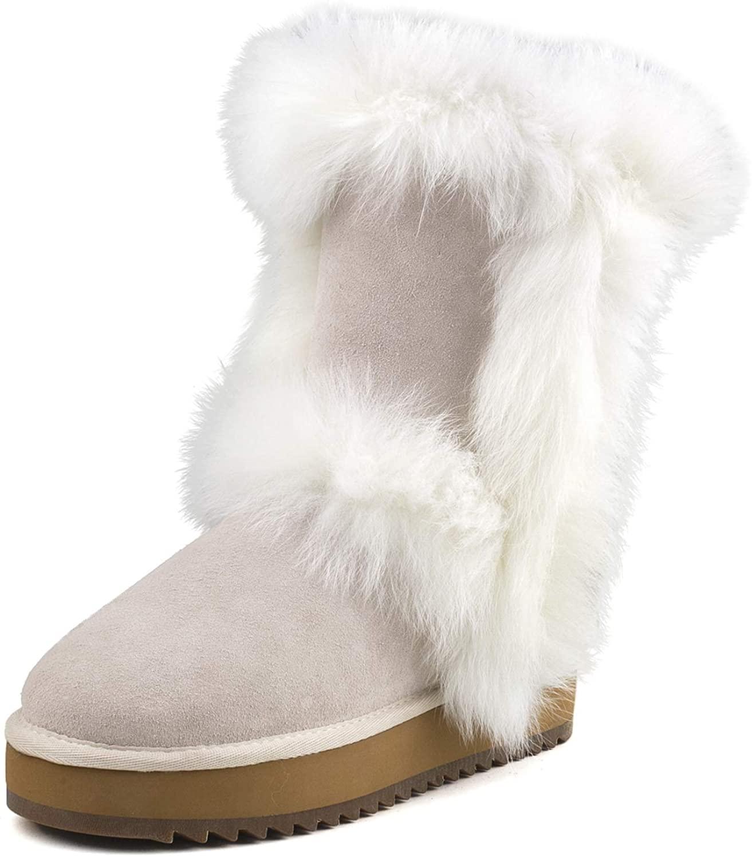 AUSLAND Women's Midcalf Wool-Lined Leather Platform Winter Snow Boot