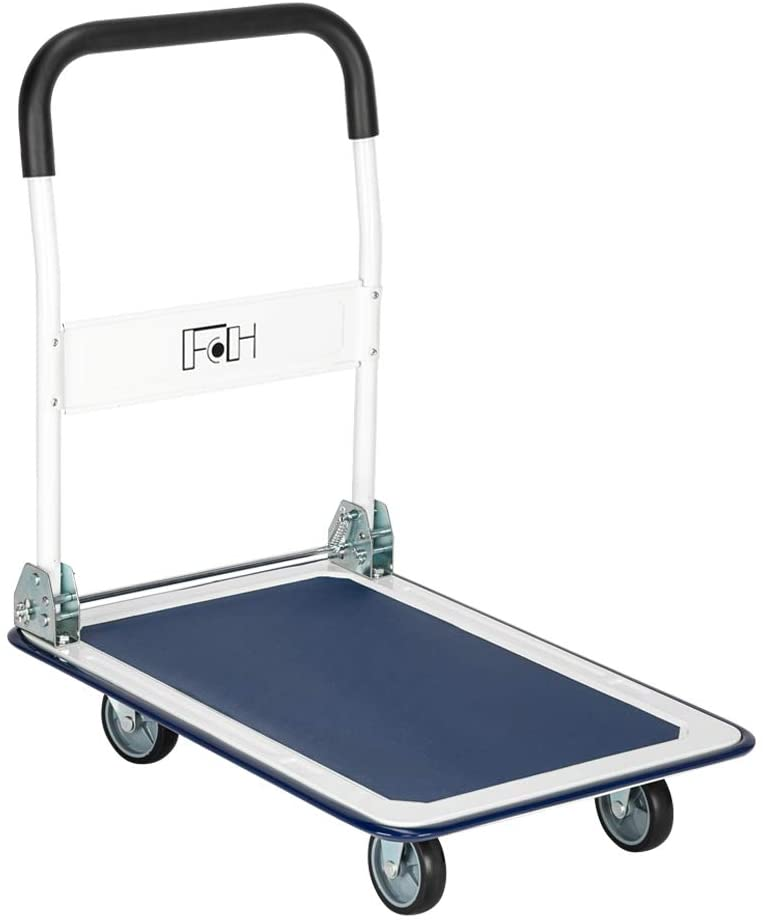 FCH Platform Truck Handy Cart Fordable Hand Trolley Truck Warehouse Folding Hand Dolly Cart,Ideal for Home, Auto, Office Use (330lbs)