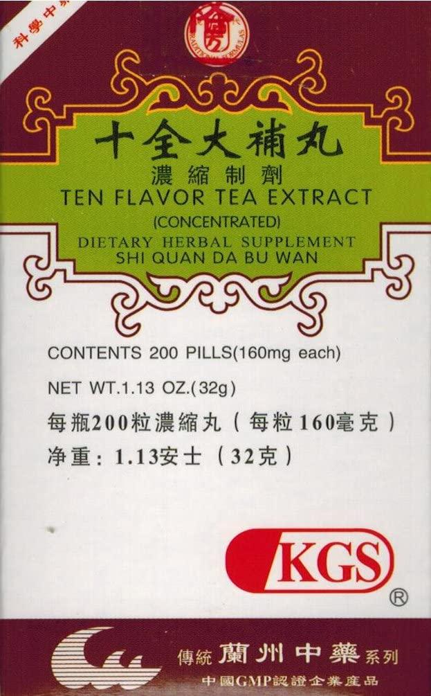 Ten Flavor Tea Extract (SHI Quan DA B U WAN)160mg X 200 Pills per Bottle