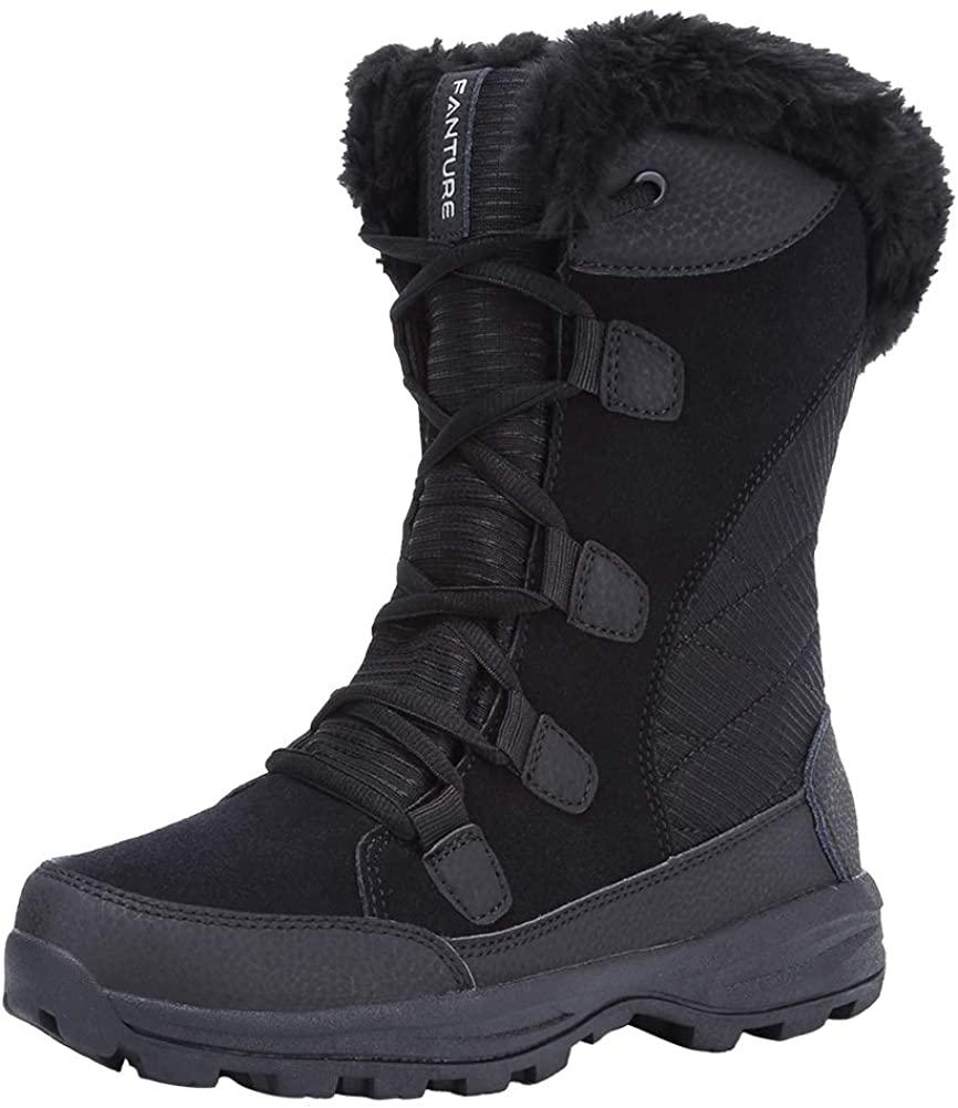 FANTURE Women's Waterproof Winter Snow Boots