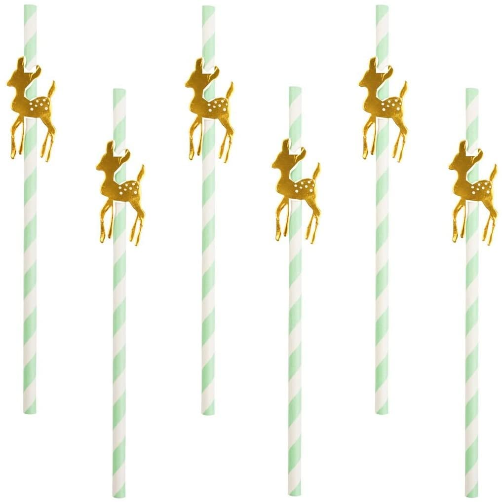 My Little Day Gold Glitter Deers Paper Straws
