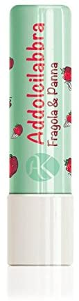ALKEMILLA Addolcilabbra Strawberry and Cream - Lip Balm Flavored Strawberry and Creamd - with Hazelnuts Oil and Sunflower Oil - Soothes & moisturises- Biological - Made in Italy