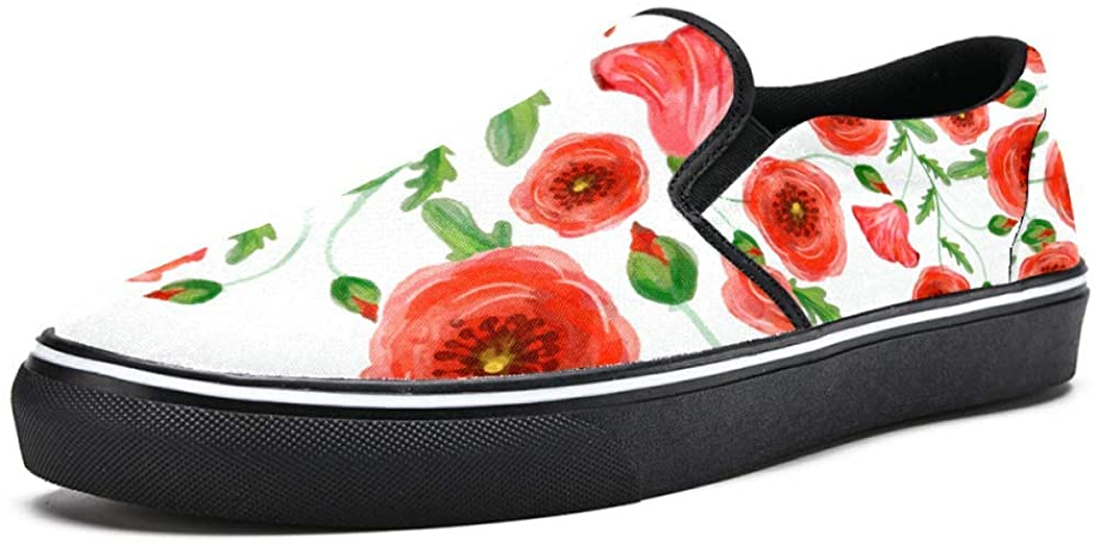 Unicey Watercolor Poppy with Leaves Canvas Shoes Lightweight Loafers Shoe for Woman