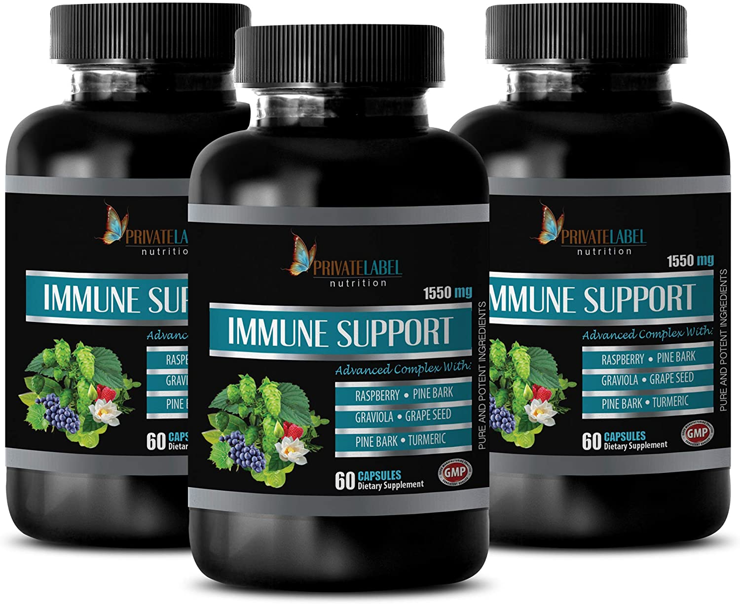 Anti Inflammation Supplements - Immune Support Advanced Complex 1550MG - Turmeric Capsules Free Shipping - 3 Bottles 180 Capsules