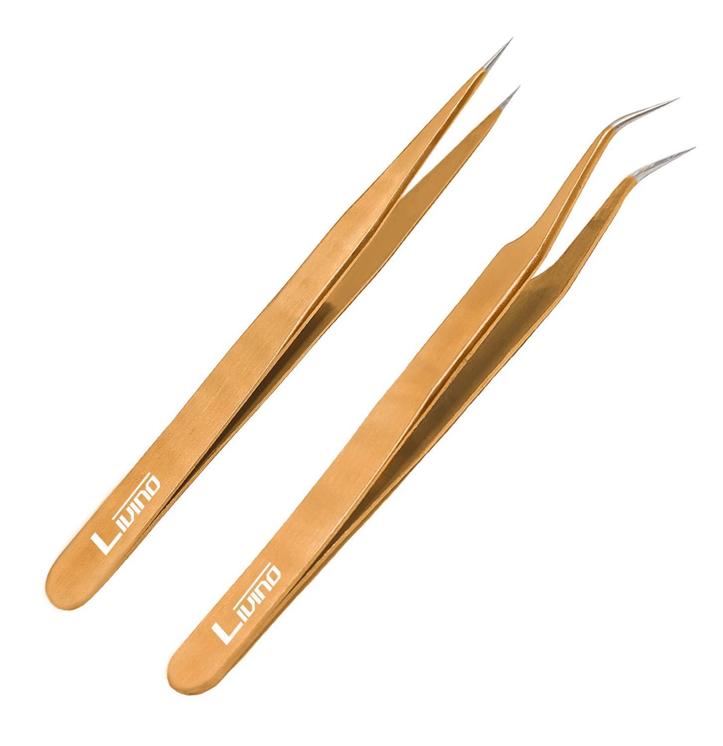 LIVINO Eyelash Extension Tweezers Straight - Set of 2 Stainless Steel Extension Tweezers with Curved Tip - Eyelash Extension Supplies Nipper for Eyelash Extensions Eyelash Tweezers