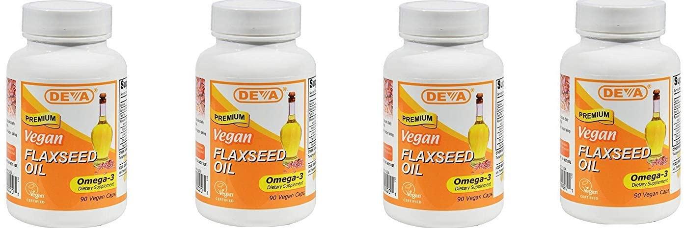 Deva Vegan Vitamins Flax Seed Oil, 500 MG, Vegan, 90 Vcap (4 pack)