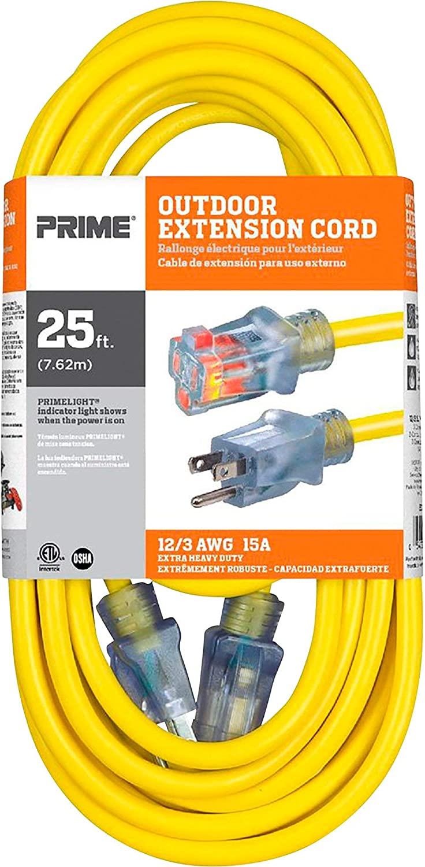 Powerzone EC511825 Prime Extension Cord, 12/3 ga, 15 A, 125 V, 25 ft, Yellow