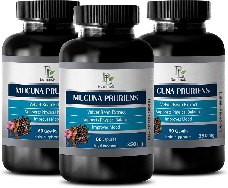 Mood and Memory for Men - Velvet Beans - MUCUNA PRURIENS Extract - antioxidant Vitamins for Men - 3 Bottles 180 Capsules