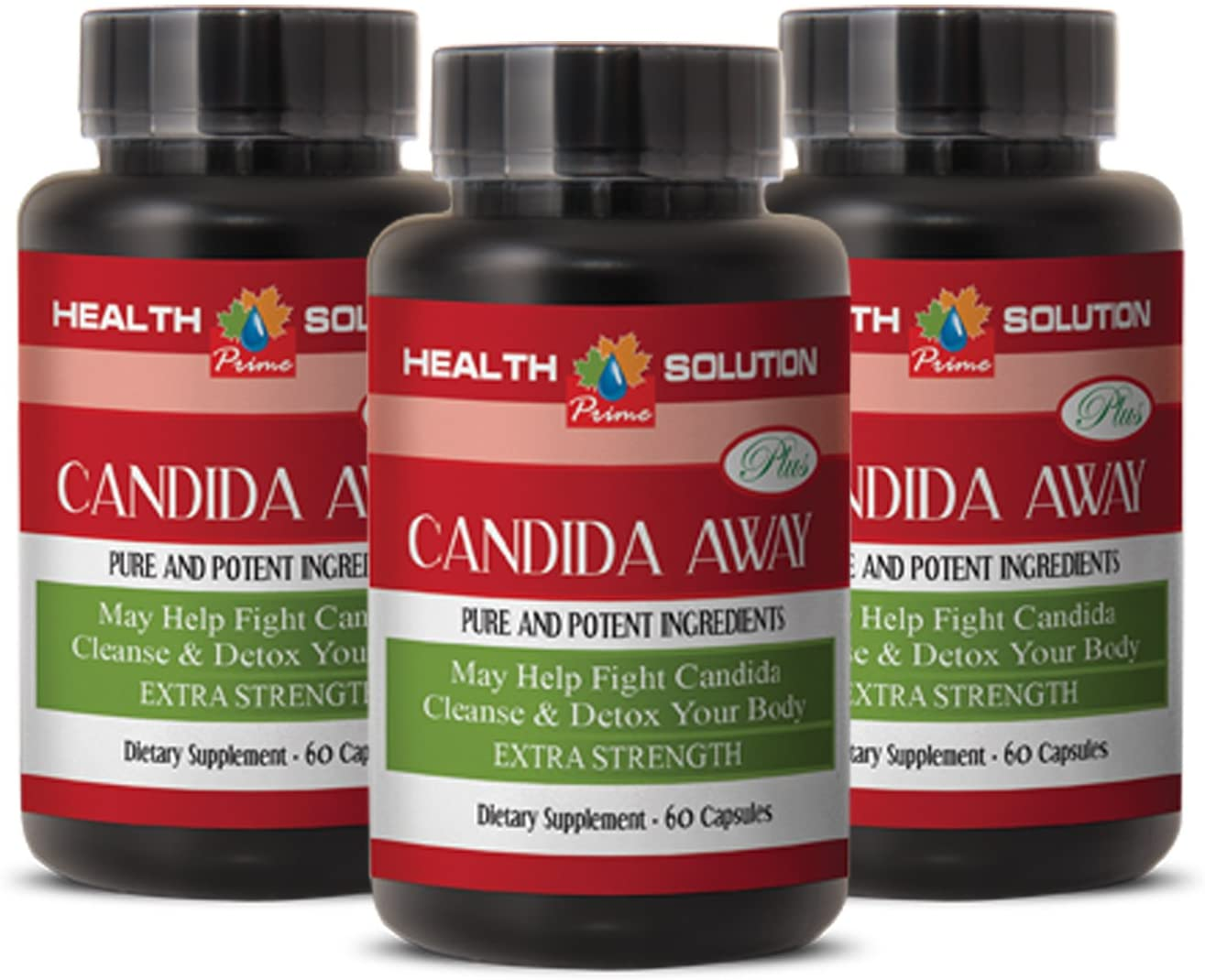 Immunity Support Supplement - Candida Away Plus - Candida Digestive - 3 Bottles 180 Capsules