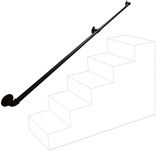 Against The Wall Elderly Indoor Villa Loft Kids Corridor Handrails, Black Metal Wrought Iron Indoor Outdoor Steps Stairs Handrail 0723 (Size : 210cm)