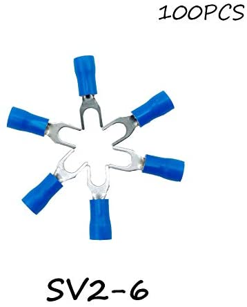 Onvas SV2-6 100PCS/Pack Blue Insulated Spade Terminal Block Connector Electrical Furcate Pre-insulated End Fork Crimp Cable Wire