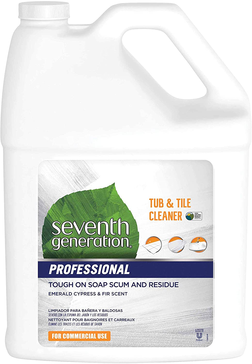 Seventh Generation Professional Tub & Tile Cleaner Refill, Emerald Cypress & Fir Scent, Biodegradable, 128 fl oz (Pack of 2)
