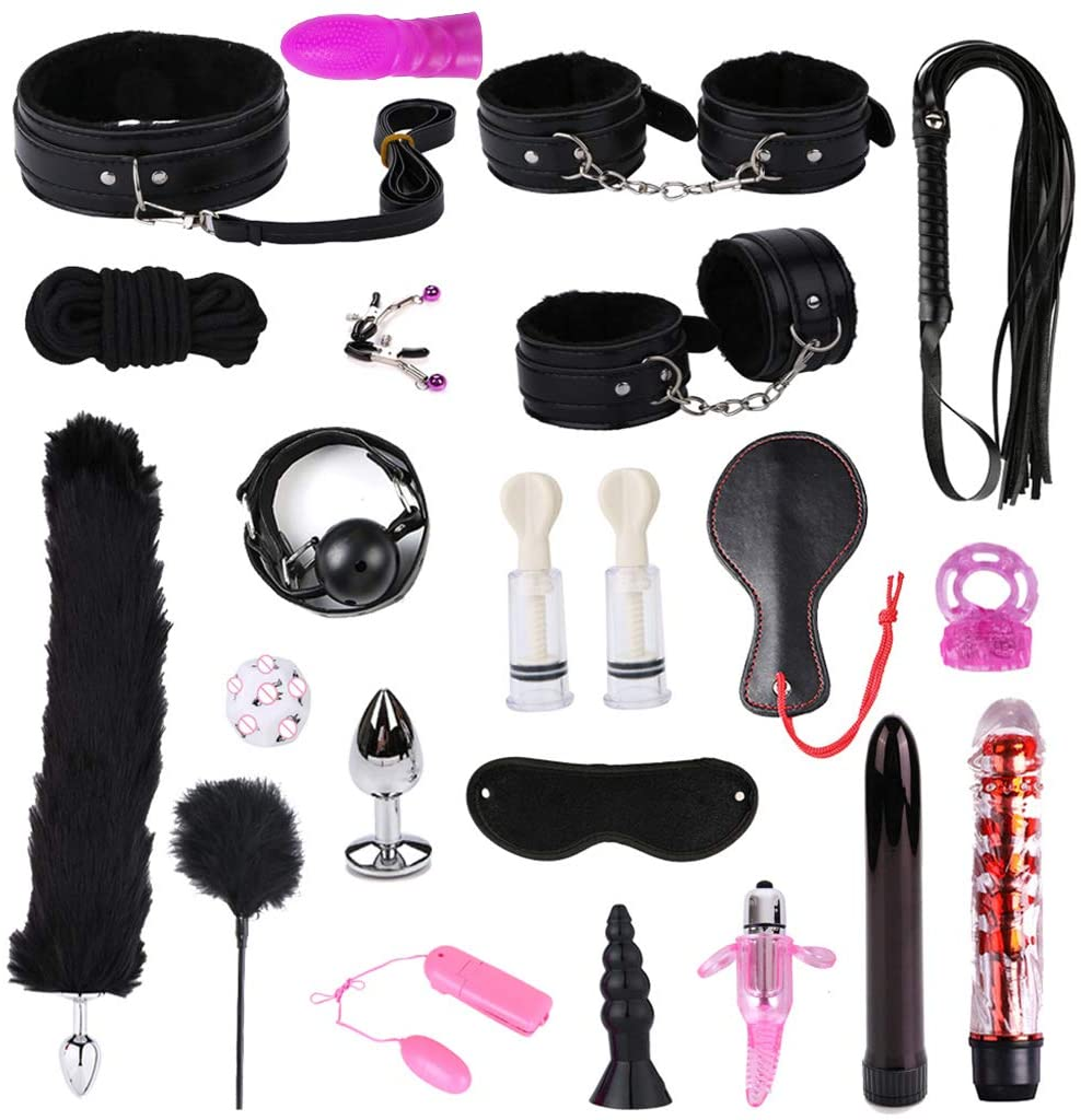 eyessssty Adult Fun 21Pcs Leather Handcuffs Set Adult Bed Exercise Toys for Couples Kit Bed Exercise Toy for Men Women SM Kit Suit Plush Set Sexy Suit and CouplesToys