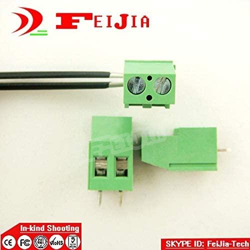 Davitu 100PCS 129-5.0-2P Screw 2Pin 5.0mm Staight Pin PCB Screw Terminal Block Connector(300V/20A)