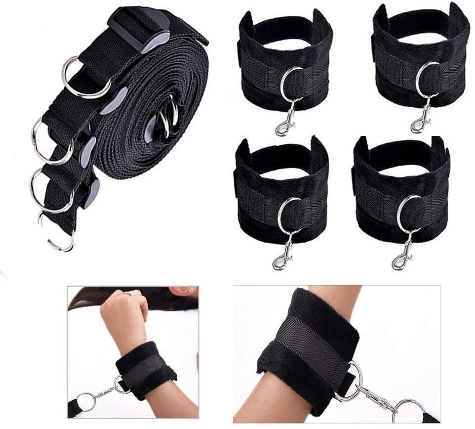 Siminey Couples Beding Yoga Game Tools Kit Nylon Plush Straps Tie on Bed Set with Adjustable Wrist & Ankle Cuffs,Black