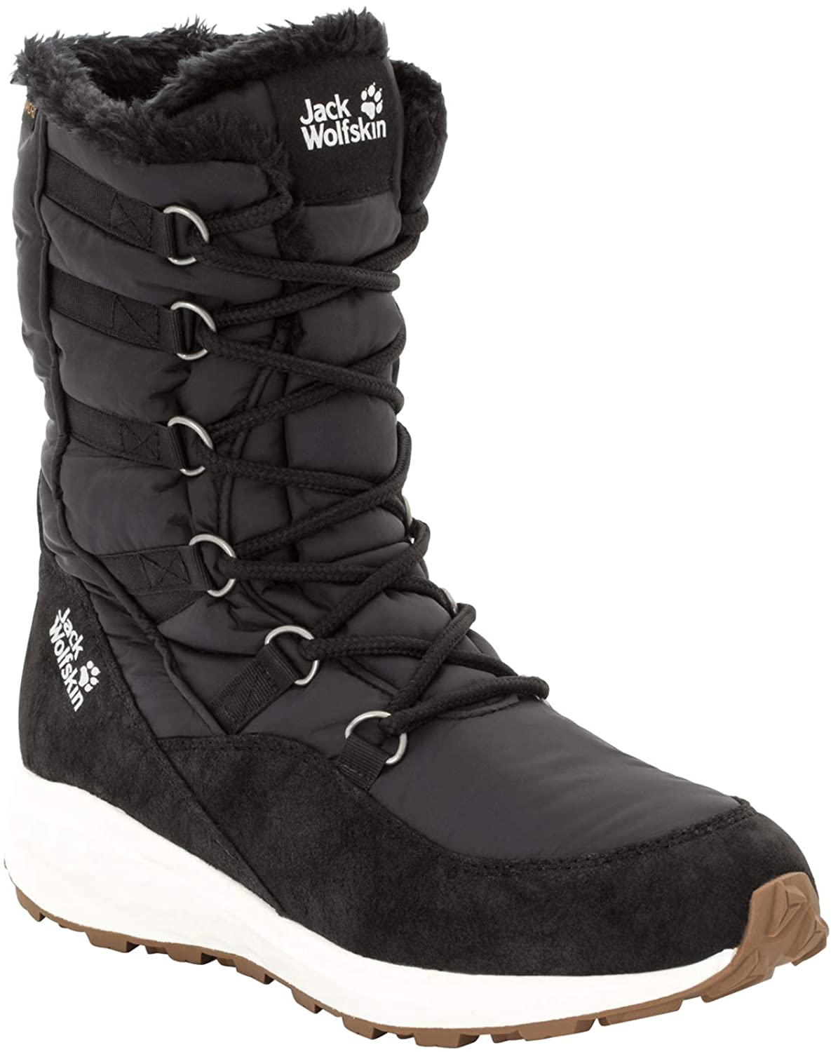 Jack Wolfskin Womens Nevada Texapore HIGH Waterproof Winter Boot with Fleece Lining Snow, BLACK/OFF-WHITE, US Womens 10.5 D US
