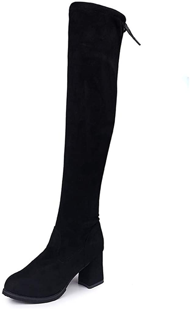 Ladies Fashion Winter Over The Knee Boots Warm Plush Square Slim Thigh High Heels Sexy Shoes Women