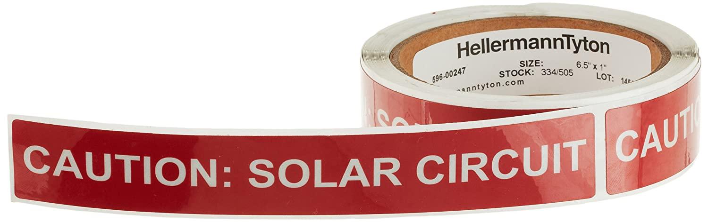HellermannTyton 596-00247 Pre-Printed Reflective Solar Label, 6.5