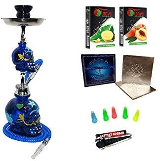 Brand New Zebra Smoke: Cinco De Mayo Skull Hookah Blue Complete Starter Kit 20
