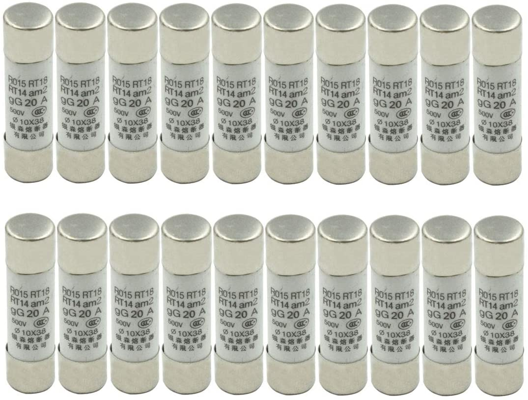 Hxchen 500V 20A R015 RT18 RT14 Fast Blow Ceramic Fuse Links 10 x 38mm/0.4