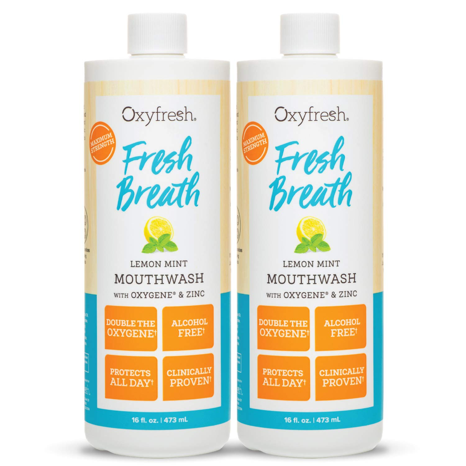 Oxyfresh Fresh Breath Lemon Mint Mouthwash — Award-Winning, Dentist-Recommended Bad Breath Mouthwash - Alcohol Free, Fluoride Free with Aloe and Natural Essential Oils. 2 Pack 16 oz