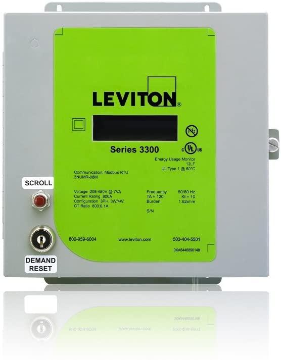Leviton VerifEye Series 3300 Modbus RTU Indoor Meter Kit with 3 Split Core CT's, 200-Amp